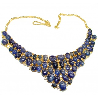 Magnificent Jewel authentic Sapphire 14K Gold over .925 Sterling Silver handcrafted necklace