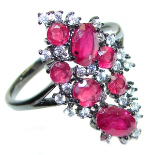 Victorian Style genuine Ruby & White Topaz .925 Sterling Silver ring; s. 9