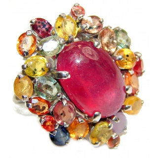 Genuine Juicy Ruby multicolor Sapphire .925 Sterling Silver handcrafted Statement Ring size 8