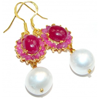 Precious genuine Pearl Ruby 14K Gold over .925 Sterling Silver earrings