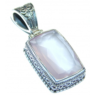 Beautiful genuine Rose Quartz .925 Sterling Silver handcrafted Pendant