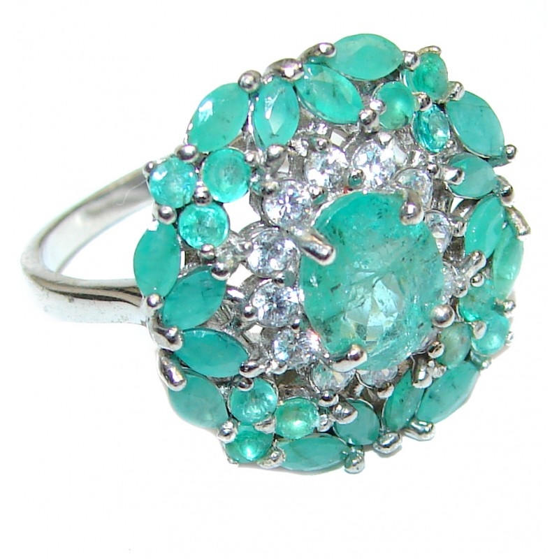 Posh Genuine Emerald .925 Sterling Silver handcrafted Statement Ring size 8 1/2