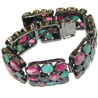 Authentic Red Ruby Emerald Sapphire black rhodium over .925 Sterling Silver handcrafted Bracelet