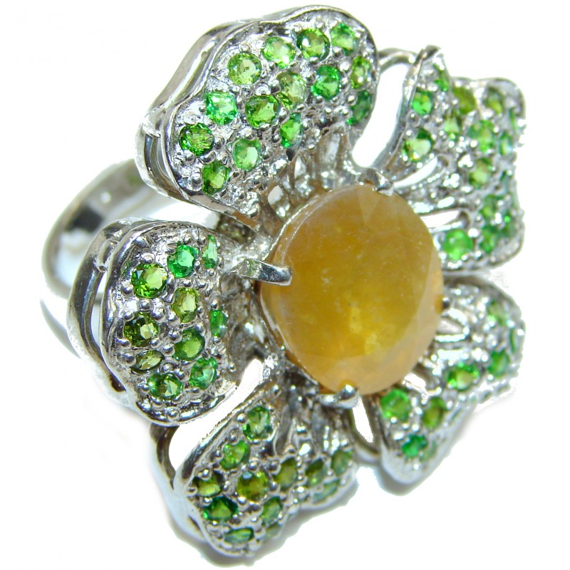 Large Genuine yellow Sapphire .925 Sterling Silver handcrafted Statement Ring size 8 1/4