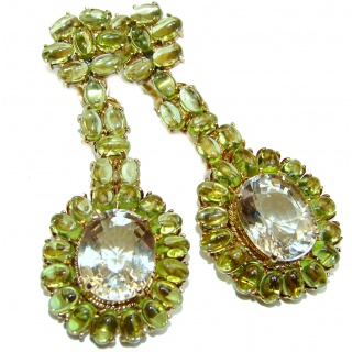 Huge Natural Green Amethyst Peridot .925 Sterling Silver handmade earrings