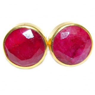 Juicy natural 10 mm Ruby Gold Rhodium over .925 Sterling Silver handcrafted earrings