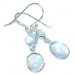 Genuine Fire Moonstone .925 Sterling Silver handcrafted Earrings
