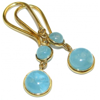 Classy genuine Aquamarine .925 Sterling Silver handcrafted earrings