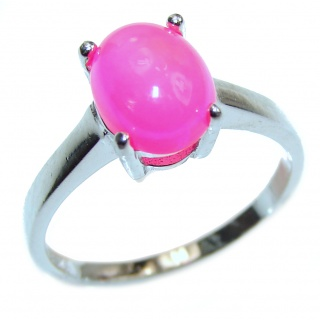 lab. created Hot Opal .925 Sterling Silver handcrafted ring size 5 3/4