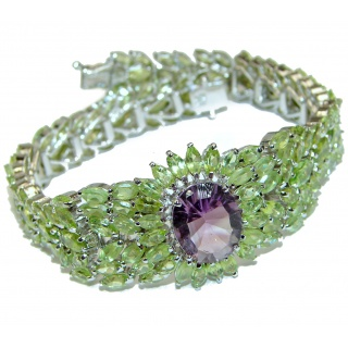 Royal quality Authentic Amethyst Peridot .925 Sterling Silver handcrafted Bracelet