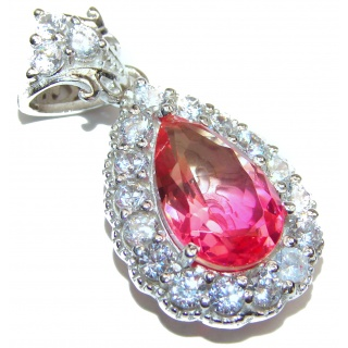 Deluxe Pink Topaz .925 Sterling Silver handmade Pendant