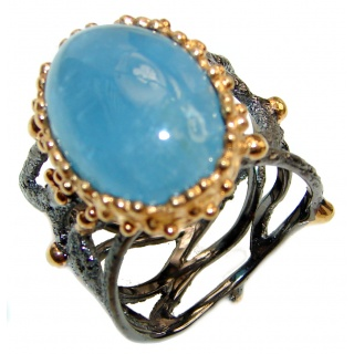 Genuine Aquamarine 14K Gold over .925 Sterling Silver handmade Cocktail Ring s. 6 1/4