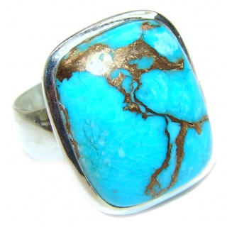 Large Copper Turquoise .925 Sterling Silver ring; s. 10 1/4