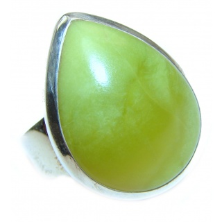Large Natural Beauty Green Peruvian Opal .925 Sterling Silver ring s. 9