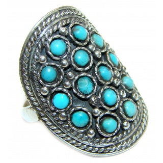 Huge Green Turquoise .925 Sterling Silver handcrafted ring; s. 9 1/4