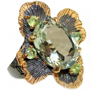 Spectacular Natural Green Amethyst .925 Sterling Silver handcrafted ring size 8
