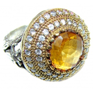 Real Beauty Genuine Citrine 14K Gold over .925 Sterling Silver handmade Ring size 6