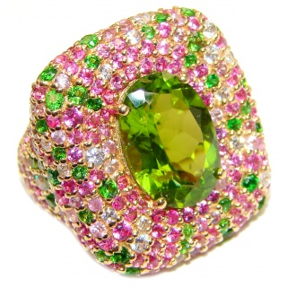 Spectacular Genuine 25ctw Peridot Tourmaline 24K Gold over .925 Sterling Silver handcrafted Statement Ring size 7