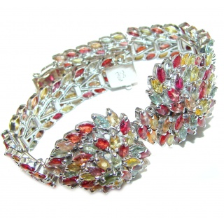 Spectacular Authentic multicolor Sapphire .925 Sterling Silver handcrafted Bracelet