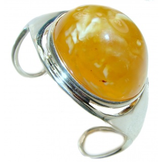 Large Genuine Butterscotch Baltic Amber Sterling Silver handmade Bracelet / Cuff