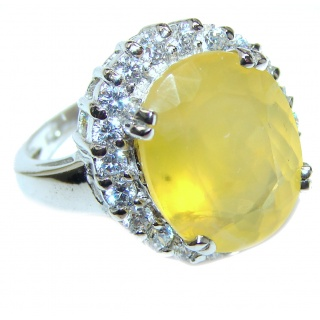 Large Genuine yellow Sapphire .925 Sterling Silver handcrafted Statement Ring size 6 3/4