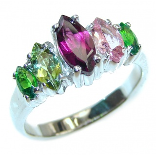 Fancy Bouquet Large Multigem .925 Sterling Silver handcrafted ring size 7 1/2