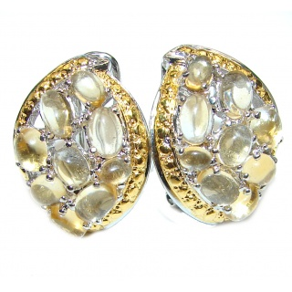 Golden Tears Spectacular quality Authentic Citrine .925 Sterling Silver handmade earrings