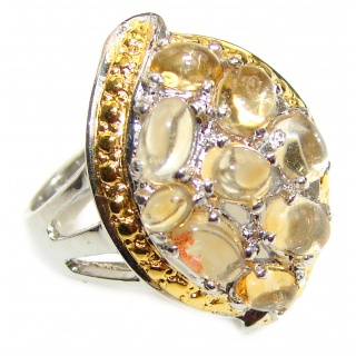 Real Beauty Genuine Citrine 14K Gold over .925 Sterling Silver handmade Ring size 7