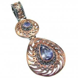Genuine Iolite Rose Gold over .925 Sterling Silver handmade Pendant