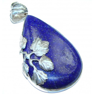 Huge Royal Blue Lapis Lazuli .925 Sterling Silver handcrafted Pendant