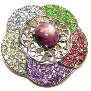 Genuine Kashmir Star Ruby .925 Sterling Silver handmade Pendant - Brooch