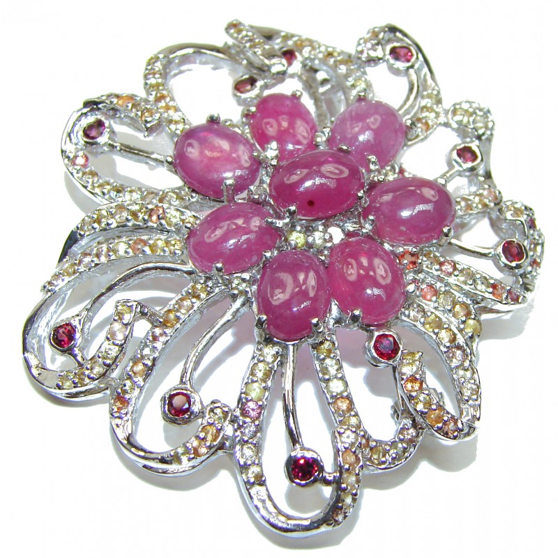 Large genuine Kashmir Ruby yellow Sapphire .925 Sterling Silver handmade Pendant - Brooch