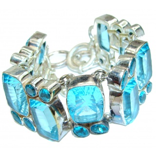 Magic Sea Electric Blue Quartz Sterling Silver Bracelet