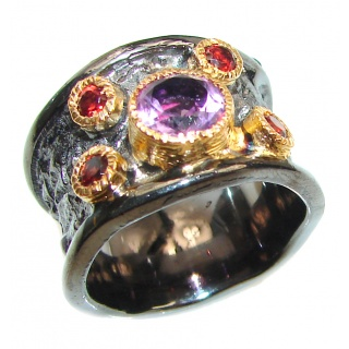 Purple Perfection Amethyst black rhodium over .925 Sterling Silver Ring size 8