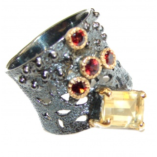 Vintage Style Natural Citrine 14K Gold over .925 Sterling Silver handcrafted Ring s. 7 1/4