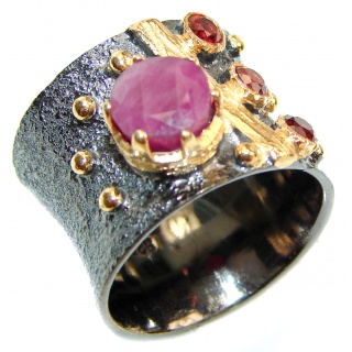 Genuine Ruby 18K Gold .925 Sterling Silver handcrafted Statement Ring size 6 1/2
