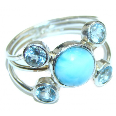 Real Beauty Natural Larimar .925 Sterling Silver handcrafted Ring s. 8