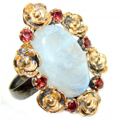 Fire Moonstone .925 Sterling Silver handmade ring s. 6 3/4