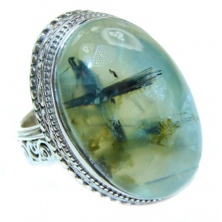 Spectacular Natural Moss Prehnite .925 Sterling Silver handmade ring s. 8