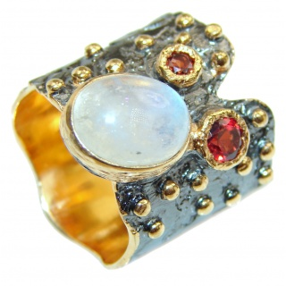 Fire Moonstone Garnet .925 Sterling Silver handmade ring s. 7 1/4