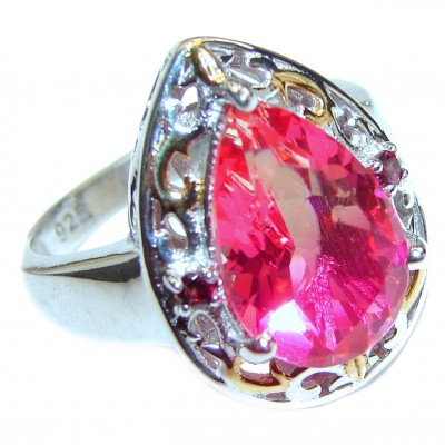 HUGE pear cut Pink Tourmaline 18K Gold over .925 Sterling Silver handcrafted Ring s. 8 1/4