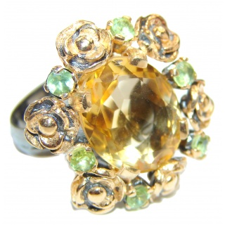 Floral Design Citrine .925 Sterling Silver handmade ring size 8 adjustable