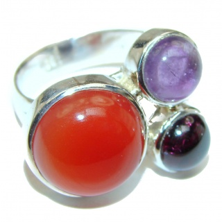Sublime Carnelian .925 Sterling Silver handcrafted Ring s. 8 adjustable