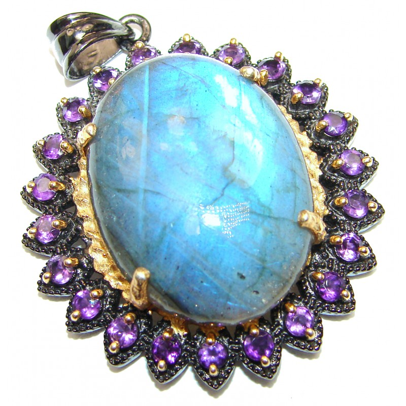 Vinatge Style Blue Fire Labradorite 2 tones .925 Sterling Silver handcrafted Pendant