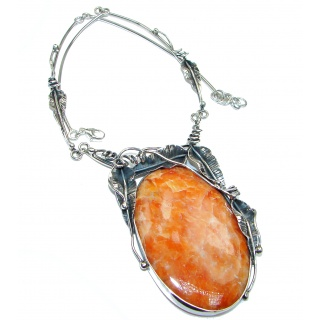 Chunky Vintage Design Orange Calcite .925 Sterling Silver handmade necklace