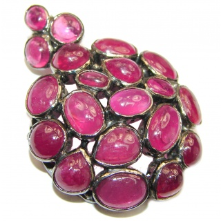 Genuine Ruby .925 Sterling Silver handmade Pendant - Brooch