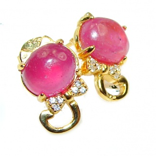 Cute Cats Authentic Ruby .925 Sterling Silver handmade earrings