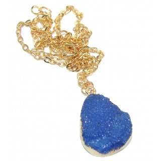 Ocean Blue Beauty Agate Druzy Sterling Silver Necklace