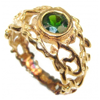 Natural Chrome Diopside 24K Rose Gold over .925 Sterling Silver Statement ring size 8 1/4
