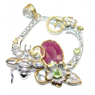Floral Design Authentic Kashmir Ruby .925 Sterling Silver handcrafted Pendant